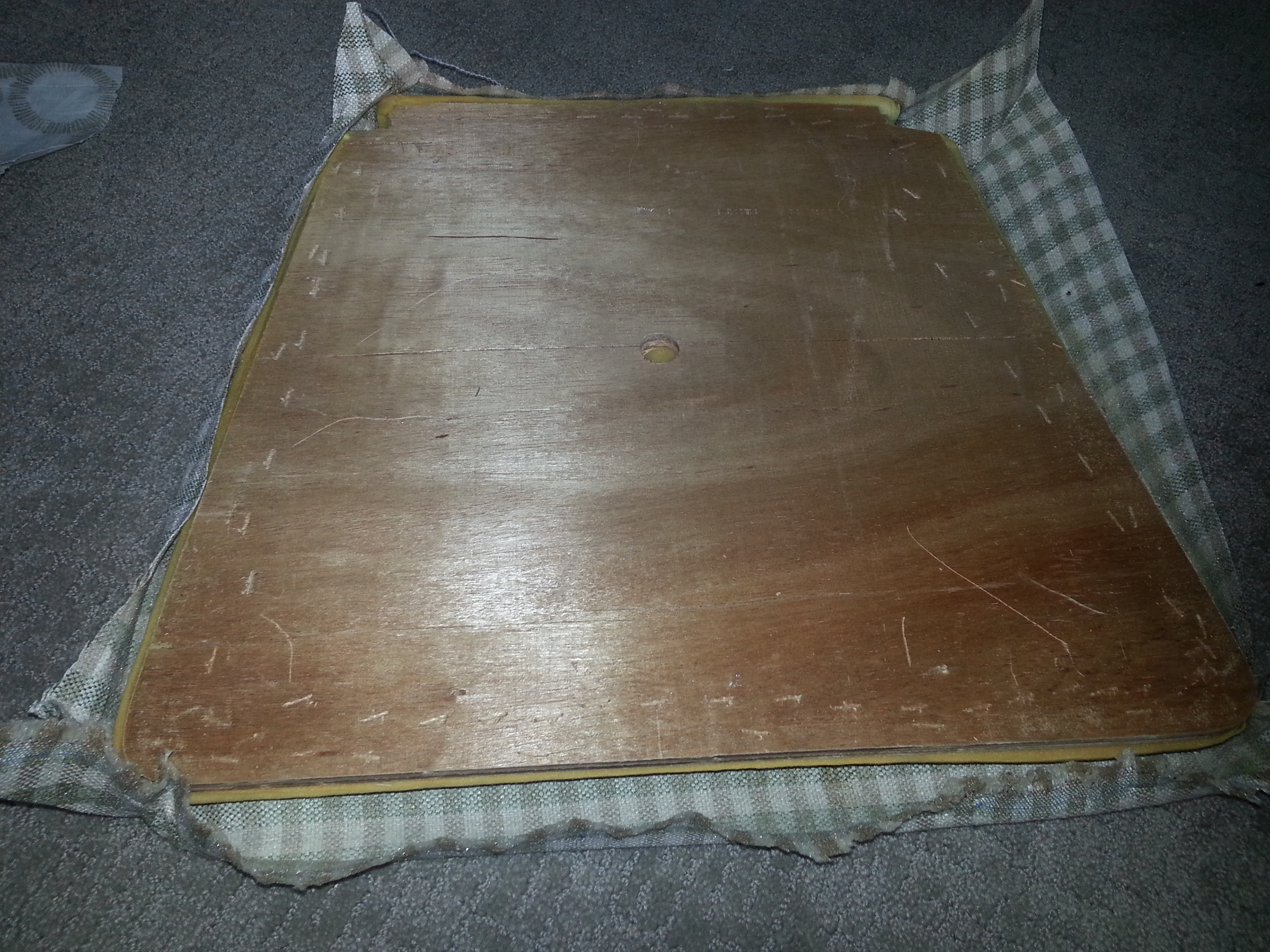 Existing Cushion Fabric Removed