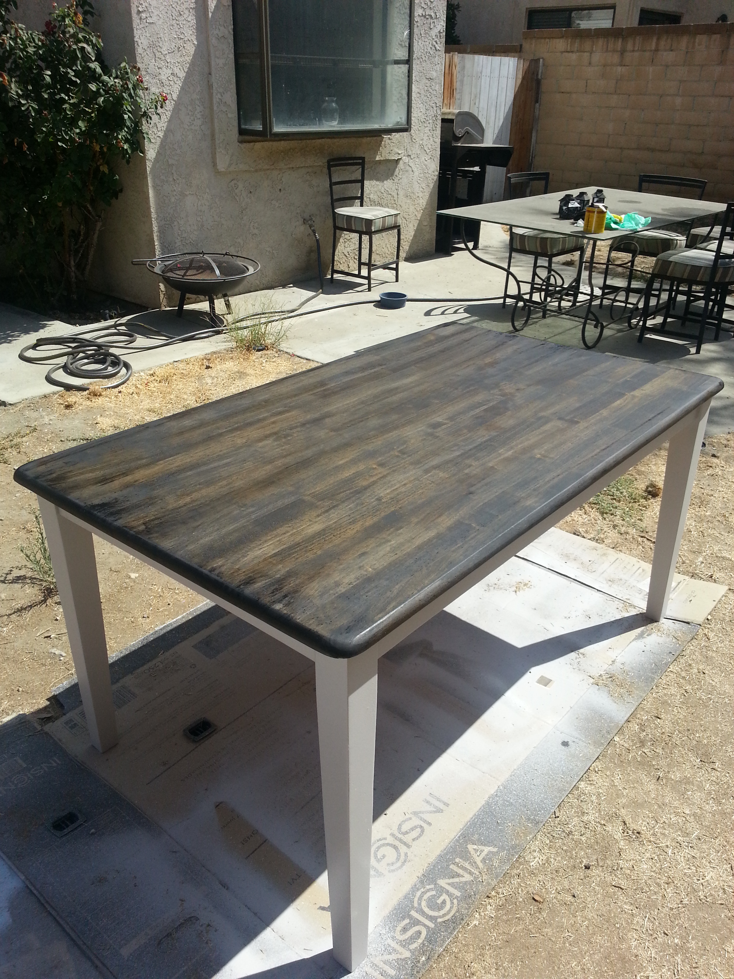 Recycled Table Stained
