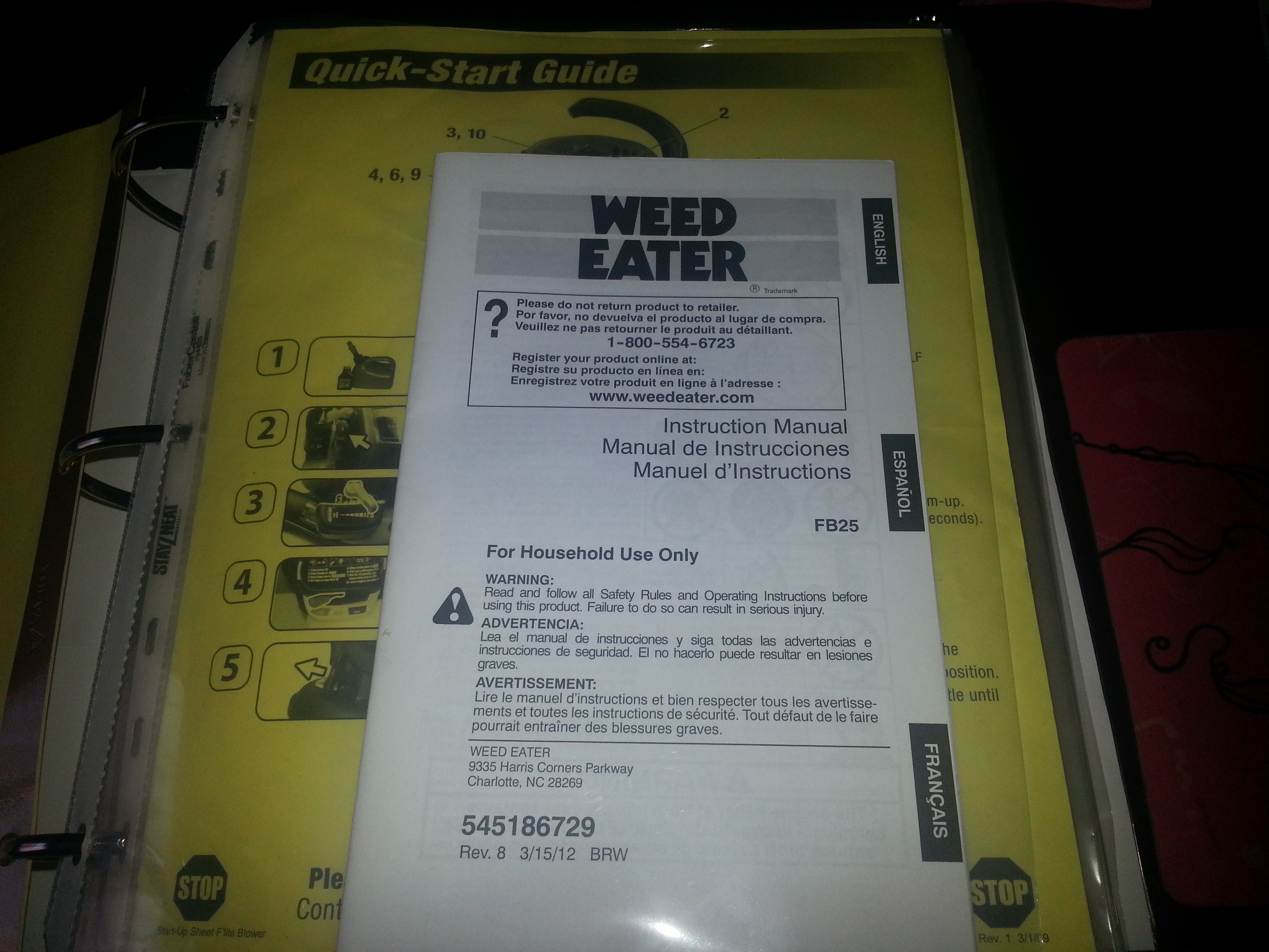 Slip in the warranty, manual and any other relevant information to the item. Here is my weed eater as an example.