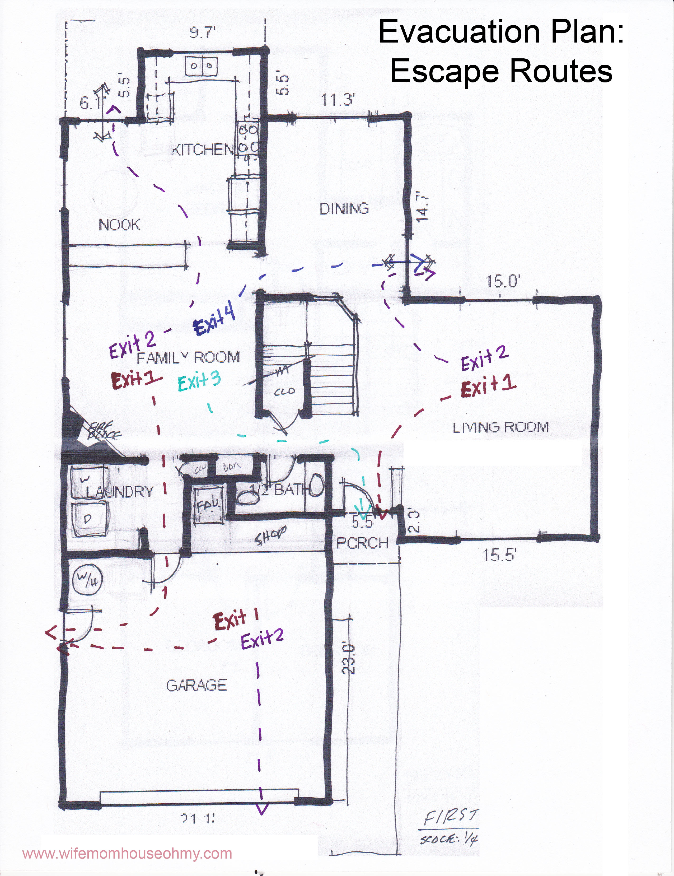 Examples of Evacuation Plan Escape Routes www.wifemomhouseohmy.com
