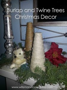 Burlap and Twine Trees Christmas Decor www.wifemomhouseohmy.com