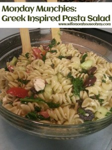 Monday Munchies Greek Inspired Pasta Salad www.wifemomhouseohmy.com