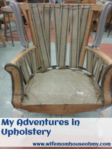 My chair with webbing finished. Note the plumber's tape and the angled webbing.