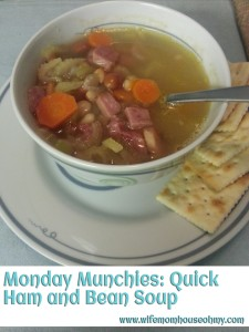 Monday Munchies: Quick Ham and Bean Soup www.wifemomhouseohmy.com