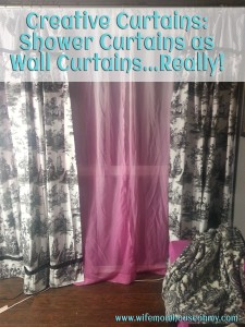 Creative Curtains Creative Curtains: Shower Curtains as Wall Curtains...Really! www.wifemomhouseohmy.com