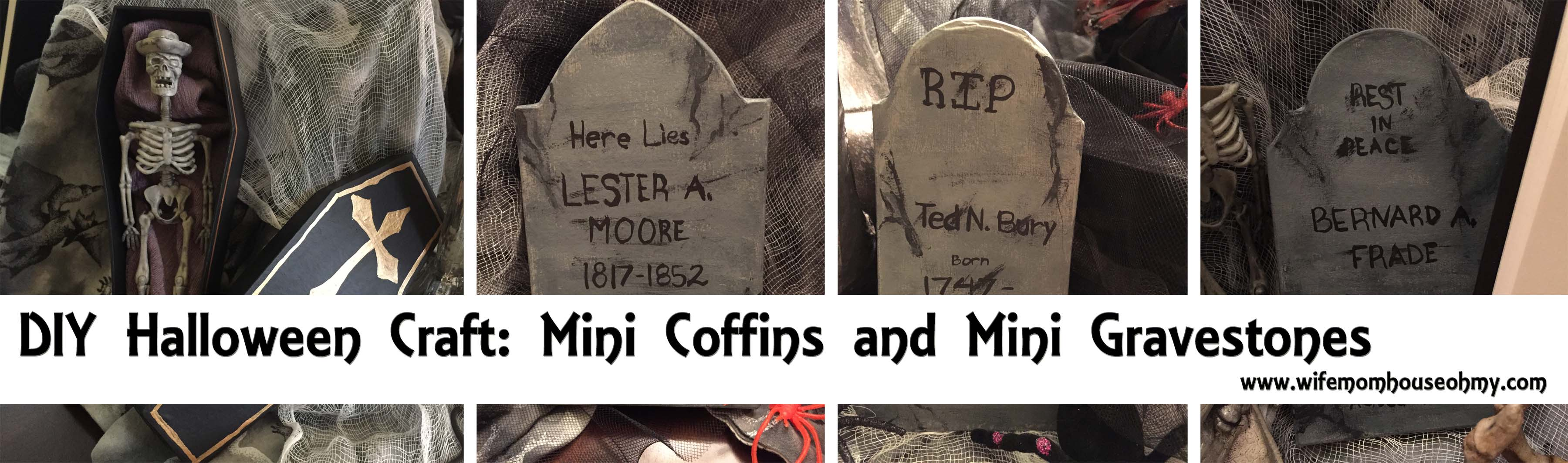 diy halloween craft: mini coffins and mini gravestones |