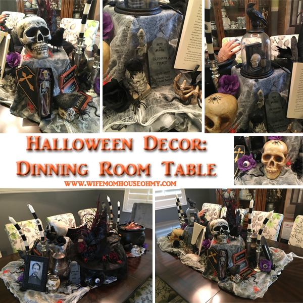Inside and Outside Halloween Craft and Decor: Dinning Room Decor www.wifemomhouseohmy.com