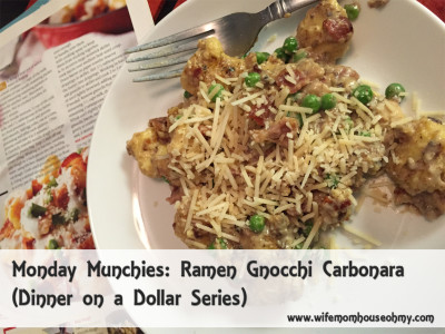 Monday Munchies: Ramen Gnocchi Carbonara (Dinner on a Dollar Series) www.wifemomhouseohmy.com
