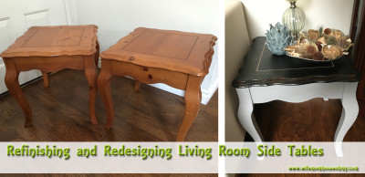 Refinishing and Redesigning Living Room Side Tables www.wifemomhouseohmy.com