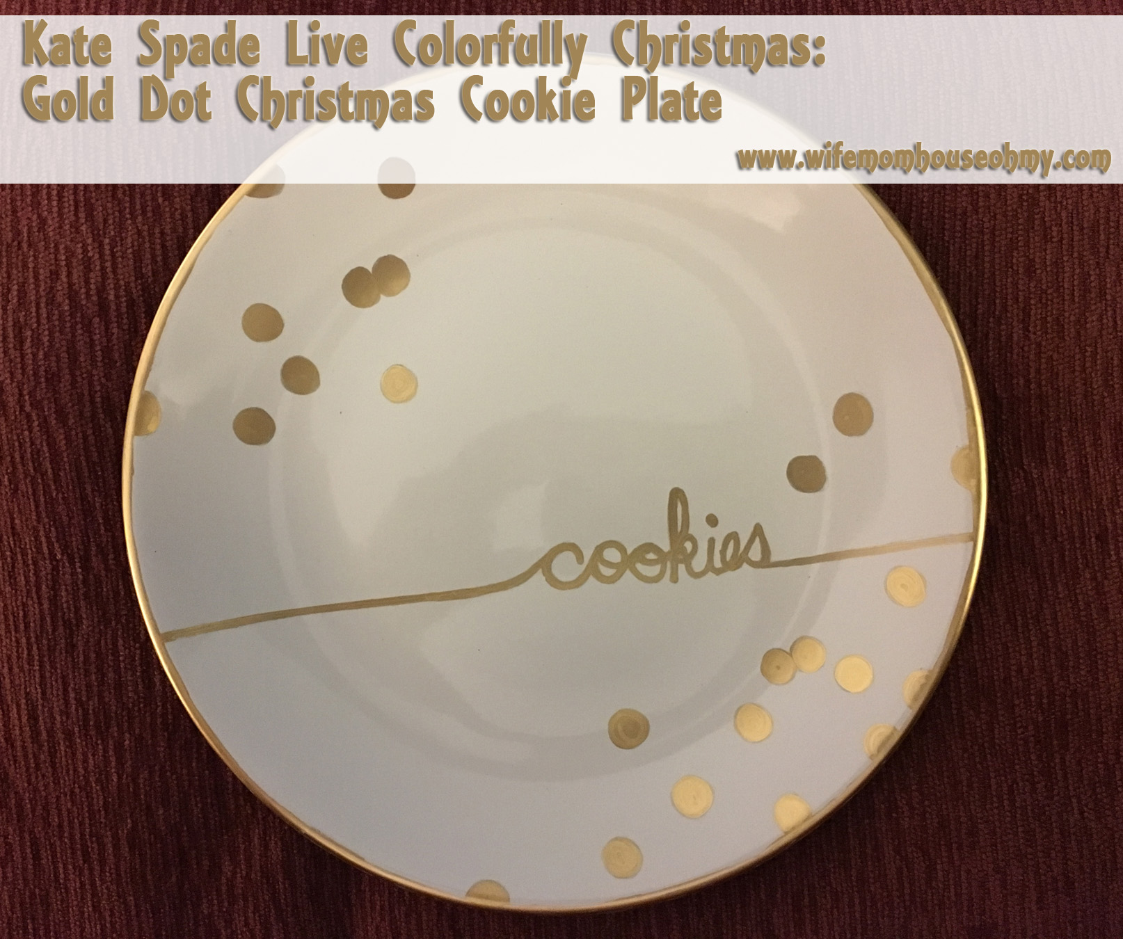 Kate Spade Live Colorfully Christmas: Gold Dot Christmas Cookie Plate |